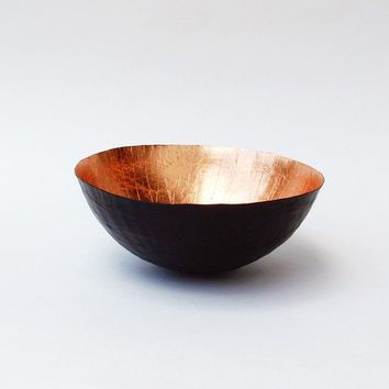 Paper Mache Bowl Black and Copper  The Moon  Made to Order by etco