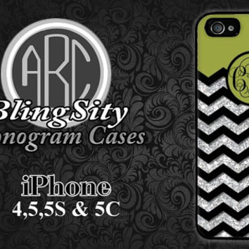 Monogrammed Green Iphone 6 Case Glittery iPhone 4 5 5C Case Green Black Chevron Personalized Cover Rubber Silicone Not Actual Glitter