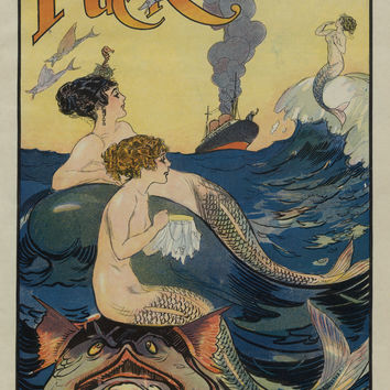 Mermaids Gossiping In The Sea Puck Magazine Vintage Cover Poster