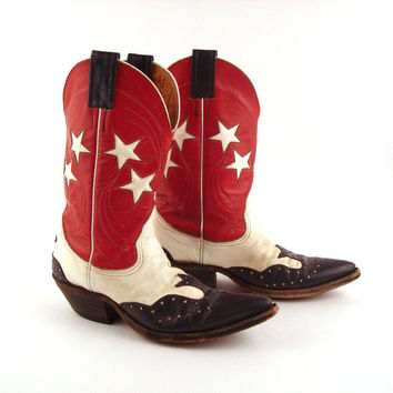 Nocona Cowboy Boots Vintage 1980s Red White and Blue Stars Inlay Inlaid Cutout