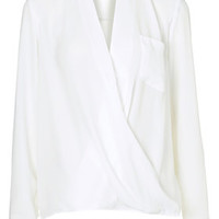 TALL Drape Front Blouse - Ivory