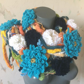 Free form crochet scarf with  flowers
