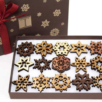 Mini Snowflake Ornaments - New Designs!  Gift Box Mini Set of 15 . Timber Green Woods