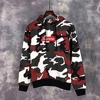 Supreme Camouflage Embroidery Top Sweater Hoodie