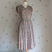 "1950's Silk Dress / Flowers + Branches Print / Crinoline / 24"" Waist / 50s Vintage"