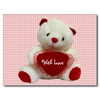 Vintage Valentine Bear With Heart Postcard
