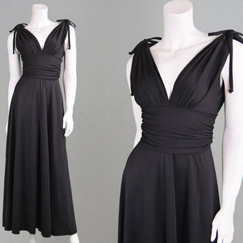 Vintage 70s Maxi Dress Sexy Evening Dress Long Black Dress Open Back Dress Backless Dress Disco Dress Studio 54 Deep V Plunging Neckline