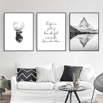 Mountain Poster Black And White Pictures Quotes Posters And Prints Abstract Painting Animals Wall Art Canvas Painting Unframed