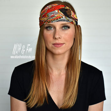 Wide boho headwrap, Bohemian bandana, Ladies fashion headscarf, Womens fashion scarf, Hippy headband, Gypsy turban, Boho fashion headband
