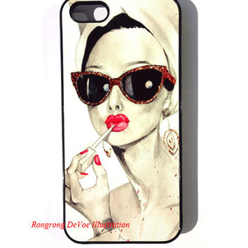 Audrey Hepburn iPhone Case , iPhone 5 Case , Illustration iphone case , iPhone Case , Glossy iPhone5 case
