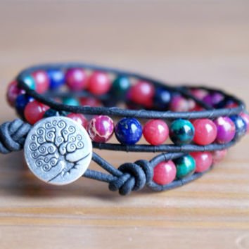 Multicolor Bohemian beaded leather wrap bracelet, gemstones, Tree of Life, trendy jewelry, boho chic, gift idea, red, green, purple, hipster