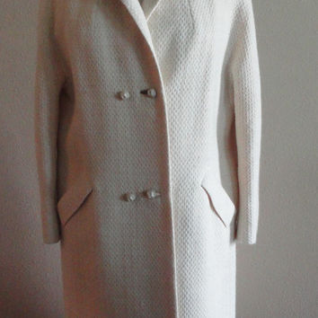 Vintage Bromleigh New York ILGWU Cream Womens Coat - L