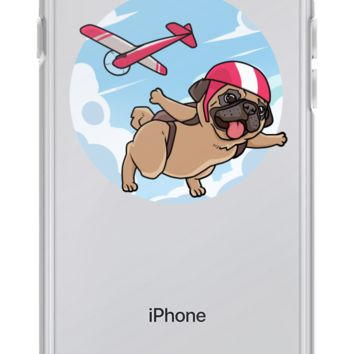 Pug iPhone 7 8 Case | Funny Skydiving Dog Cover | The Jazzy Panda