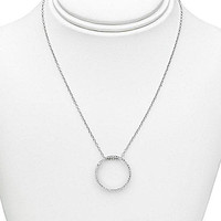 Dillard's Diamond Collection® Open Circle Pave Pendant - Silver