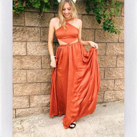 MARRAKESH SATIN MAXI- RUST