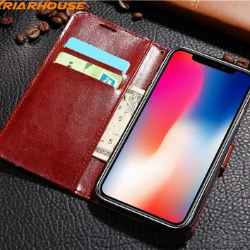 phone case for iphone 8 X 10 5 6 6s 7 8 plus Flip Wallet Leather shell soft color Book Style Crazy Horse Man Cover stand Wallet