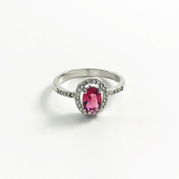 Pink Rubellite CZ Sterling Silver Ring