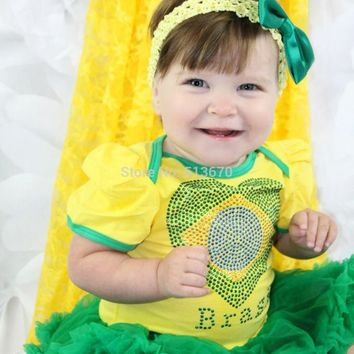 Soccer Theme Brazilian Football World Cup Brazil Flag Heart Yellow Girl Tutu Bodysuit Green Baby Dress NB-18M LKJT0063