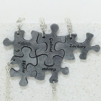 Puzzle Pieces Leather Personalized Necklaces  Set of 5