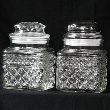Vintage Glass Jars Canisters Square with Plastic Seals | Decorative Storage Jars Bath or Kitchen Embossed with Geometrics | Anchor Hocking