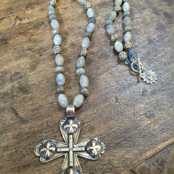 Rustic Cross, Labradorite Knotted Necklace, Long Layering Statement Necklace, Rustic Boho Beaded Jewelry by TwoSilverSisters