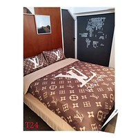 Fashion LOUIS VUITTON Modal 4 Pieces Sheet Set Blanket For Home Decor Bedroom Living Rooms Sofa