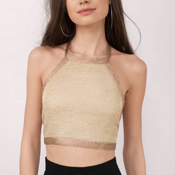 Jessie Metallic Halter Crop Top