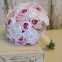 Silk Bride Bouquet Shabby Chic Vintage Inspired Rustic Wedding Morgann Hill Designs