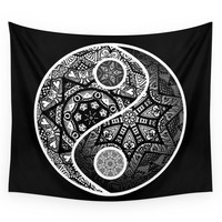 Society6 Yin Yang Zentangle Wall Tapestry