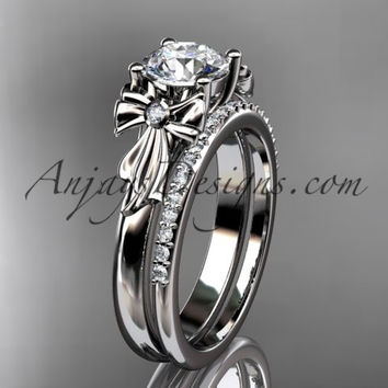 """platinum diamond unique engagement set, wedding ring with a """"Forever One"""" Moissanite center stone ADER154S"""
