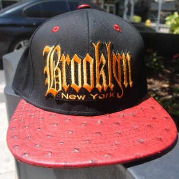 Brooklyn Strap-Back / Red Ostrich Leather
