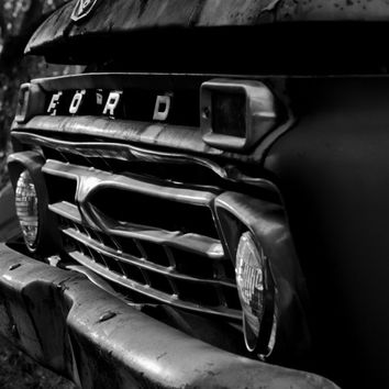 modern contemporary classy ford truck photography black and white large photo poster wall art home decor man cave