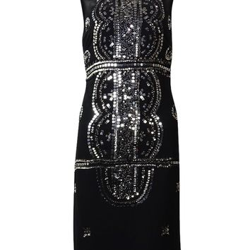 Adrianna Papell Women's Sequined Beaded Crepe Sheath Dress