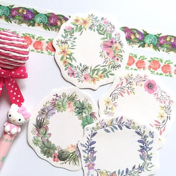 flower wreath floral wreath sticky note pretty flower Memos paper flower wreath paper embellishments flower diary planner decor Paper gift