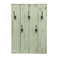 """27.5"""" New Romance Distressed Finish Green and White Decorative Wall Mounted Coat Rack with Hooks"""