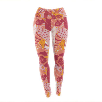 "Akwaflorell ""Fishes Here, Fishes There 3"" Pink Orange Yoga Leggings"