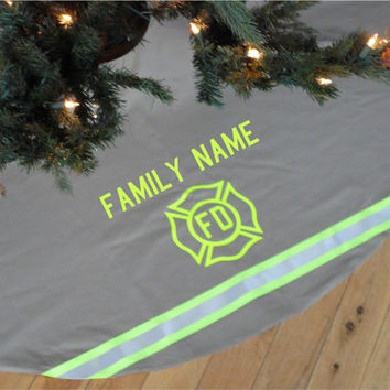 Personalized Custom Made Holiday Tree Skirt Like Firefighter Turnout Bunker Gear with Maltese Cross and Name of Your Choice Plus Reflective