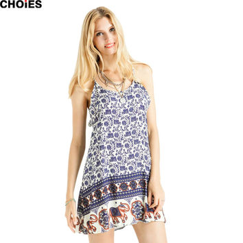 Women Summer Style Blue Geometric Aztec Tribal Folk Print Chiffon Spaghetti Strap Shift Effortless Casual Dress Tunics