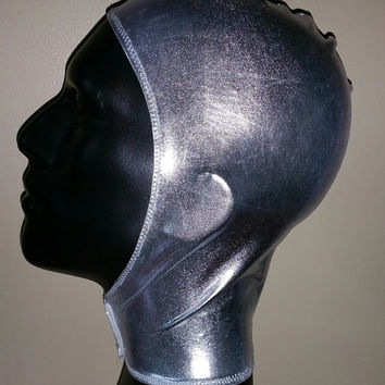 Unisex Metallic Silver Spandex Stretch Hood with Velcro Front Closure One Size READY TO SHIP ms1