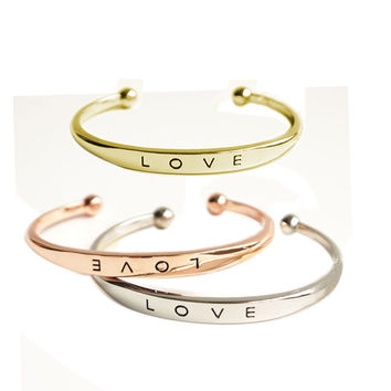 Fashion Accessories Letter Love Bracelets Gold / Silver/Rose Gold Plated Simple Cuff Bangle For Women Jewelry Gold