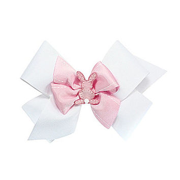 Copper Key Stacked King Bunny Bow - White