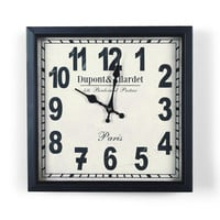 Black and Off White Dial Decorative Retro Vintage Traditional Wall Hanging Squar Iron Clock