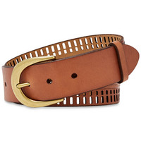 Fossil Claire Perforated Leather Belt - Belts - Handbags & Accessories - Macy's
