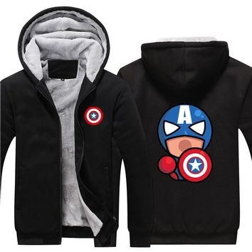 Winter Jackets and Coats Captain America hoodie Agents of SHIELD Hooded Fashion Thick Zipper Men cardigan Sweatshirts USA Size