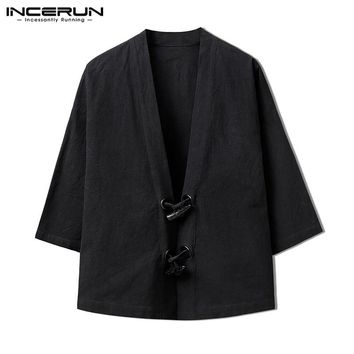 Autumn Men's Cardigan Kimono Chinese Coats Jackets Vintage Open Stitch Retro Button Long Sleeve Male Clothes Overcoat INCERUN