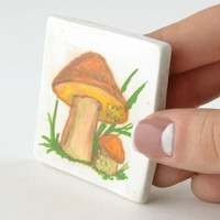 Ceramic fridge clay painted handmade unusual unique decorative magnet Mushroom