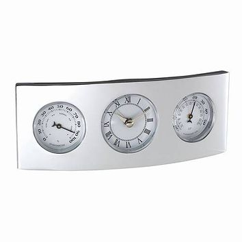 Personalized Free Silver Weather Station Thermometer Hygrometer Clock