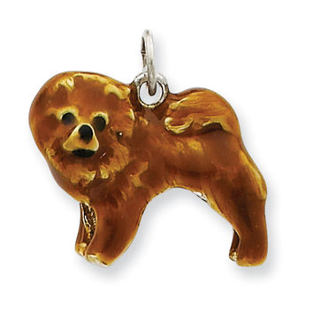 Sterling Silver Enameled Chow Dog Charm QC6445