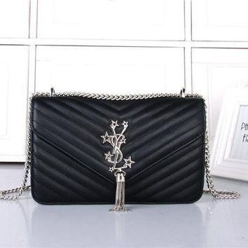 LMFON Yves Saint Laurent YSL' Women Simple Fashion V Quilted Five-pointed Star Metal Chain Single Shoulder Messenger Bag