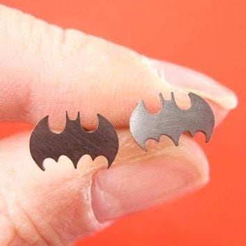 Bat Silhouette Symbol Batman Logo Stud Earrings in Dark Silver | Allergy Free